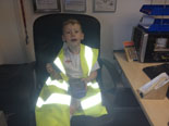 Oliver my son in the office learning the ropes