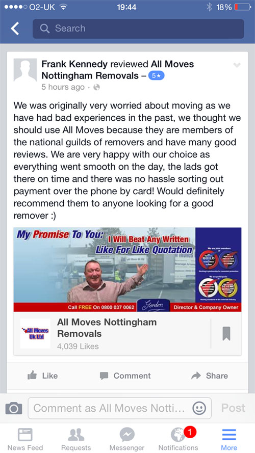 Reviews through our Facebook page
